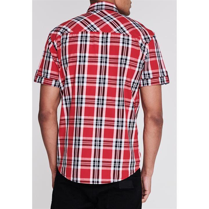 Lee Cooper férfi rövid ujjú kockás ing, piros fehér fekete (3XL méret)